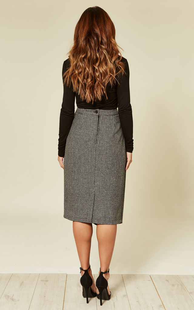 Roxanne Midi Wrap Front Skirt in Grey Houndstooth by Mystery Gal