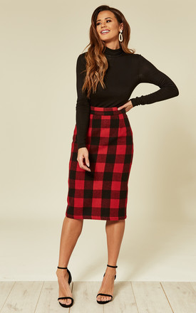 Lucy Midi Pencil Skirt in Red/Black Tartan by Mystery Gal