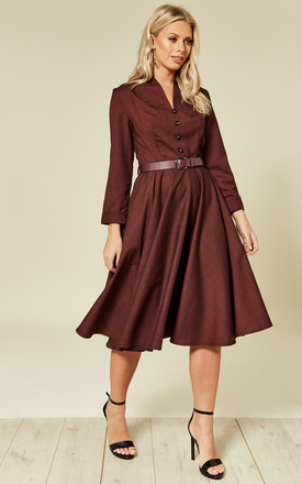Helena Long Sleeve Midi Dress in Burgundy Check by Timeless London