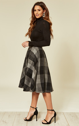 Sophie Midi Skirt in Black/Grey Tartan by Timeless London