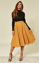 Odette Flared Midi Skirt in Mustard by Timeless London