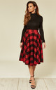 Sophie Midi Skirt in Red/Black Check by Timeless London