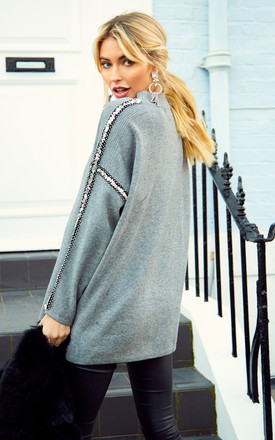 Grey Jumper With Silver Sequins on the Sleeves by Bella and Blue
