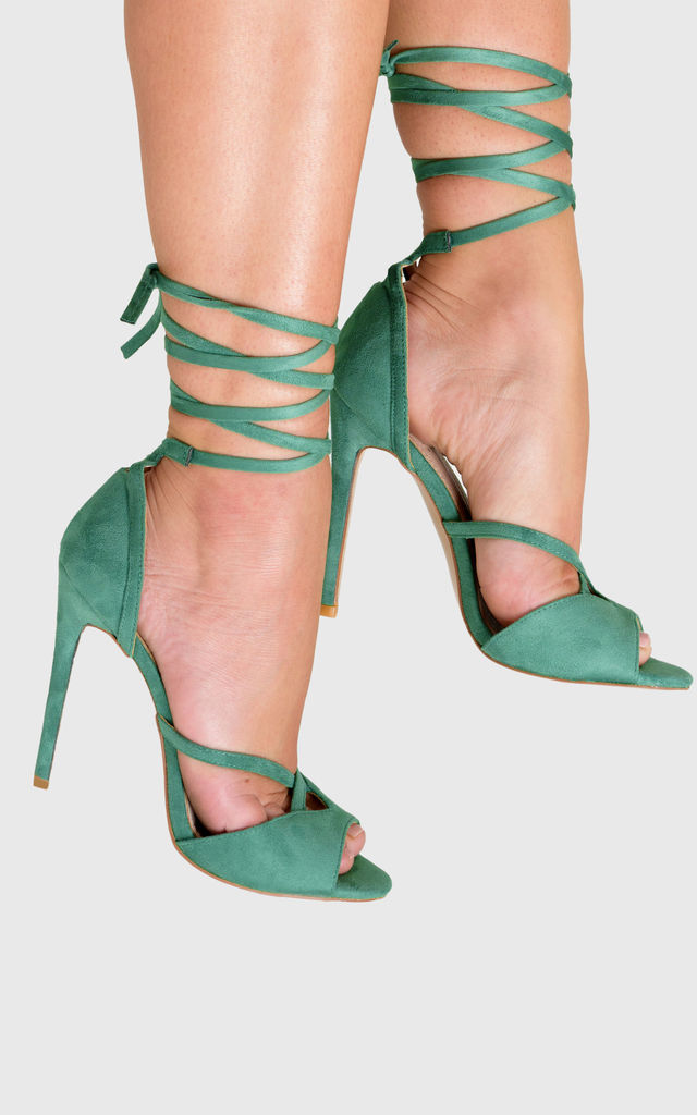 Fleur Strappy Stiletto Heels in Green Faux Suede by Poised London