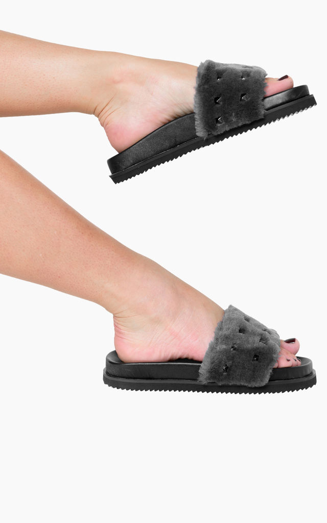 Keely Studded Detail Sliders in Grey Faux Fur by Poised London