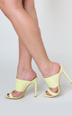 Perrie Stiletto Heel Mules In Lemon Yellow Lycra by Poised London