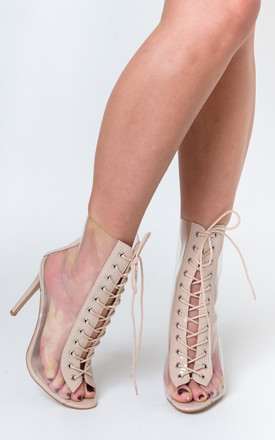 Marnie Nude Patent & Perspex Stiletto Heel Ankle Boots by Poised London