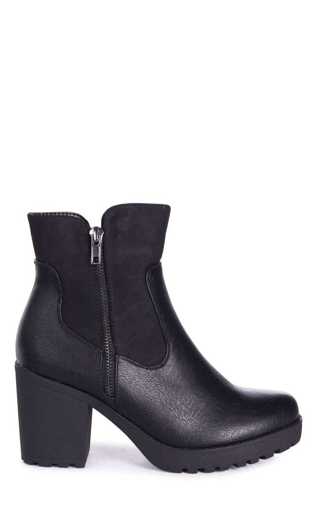 Laurel Black Nappa Heeled Ankle Boot by Linzi