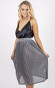 Pleated High Waisted Metallic Midi Skirt in Silver by MISSTRUTH