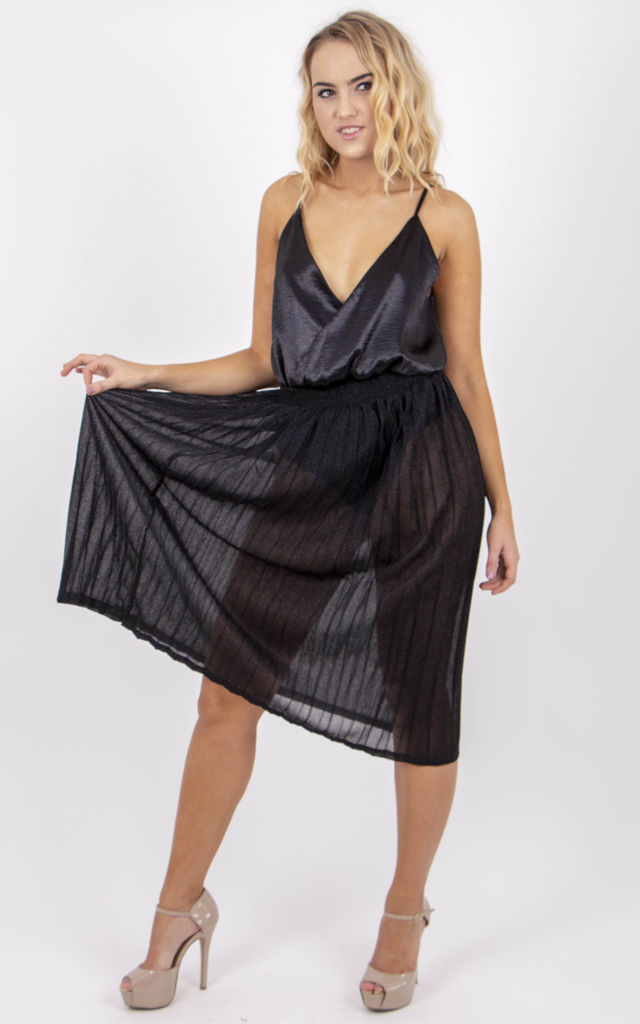 Pleated High Waisted Metallic Midi Skirt in Black by MISSTRUTH
