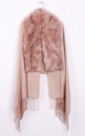 Dusty Pink Faux Fur Collar Fringe Shawl/Scarf by Urban Mist