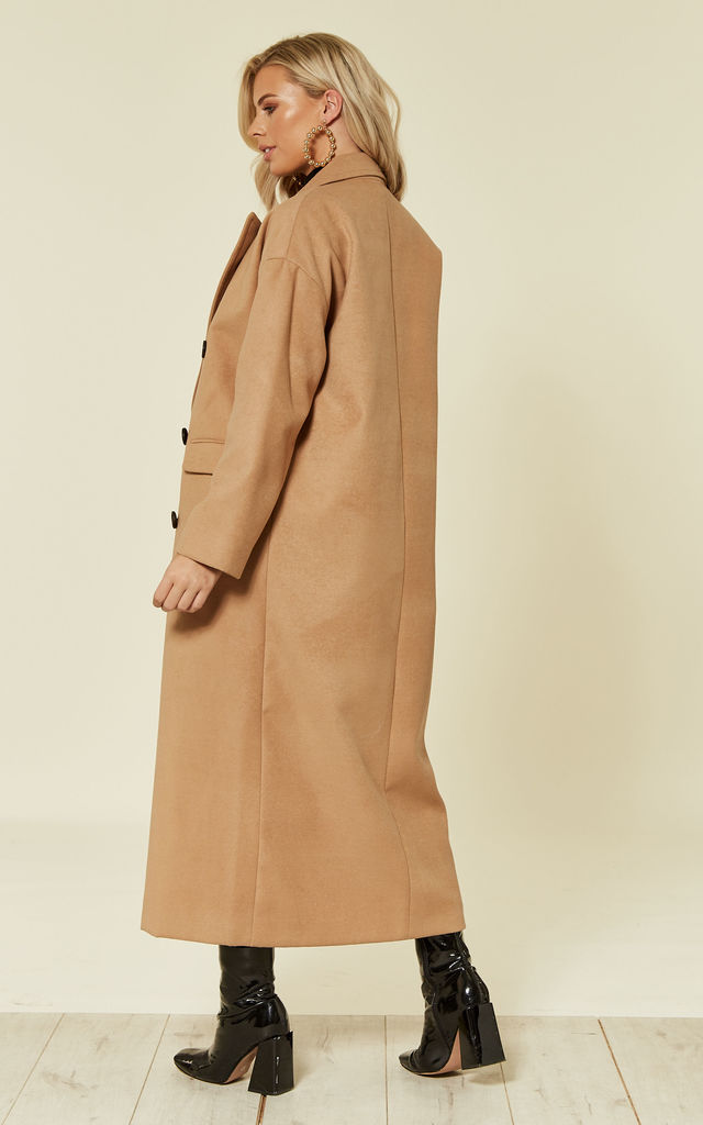 Josephine Camel Long Double Breasted Slouch Coat by Faux England