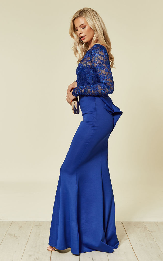 cc7333a5c1c Open Back Lace Occasion Maxi Dress with Bow Detail in Royal Blue by Goddiva