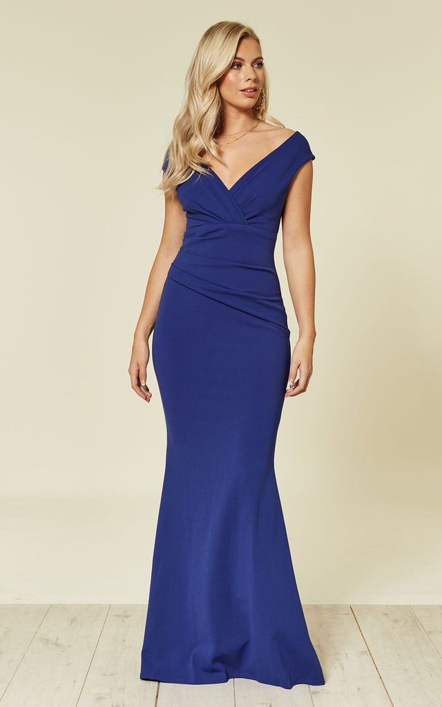 21483f1b672 Bardot Pleated Occasion Maxi Dress in Royal Blue by Goddiva