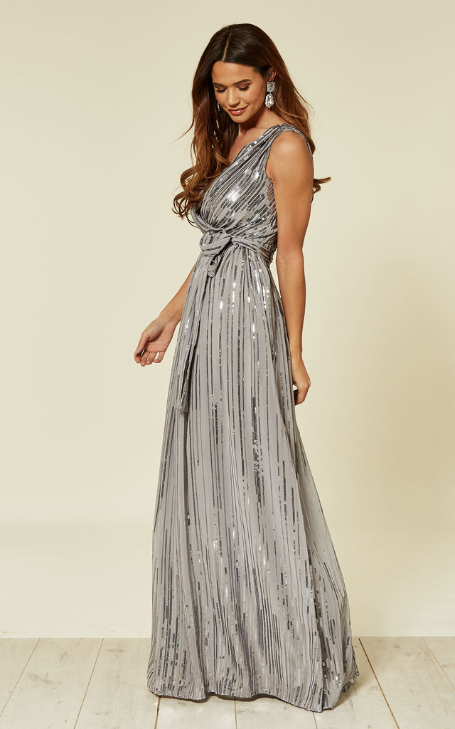 f9bcc26c9122 Sequined Chiffon Occasion Maxi Dress With Belt In Silver | Goddiva ...