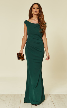 4be9fabf664 Emerald Green Off The Shoulder Fishtail Maxi Occasion Dress With Pleating  Detail
