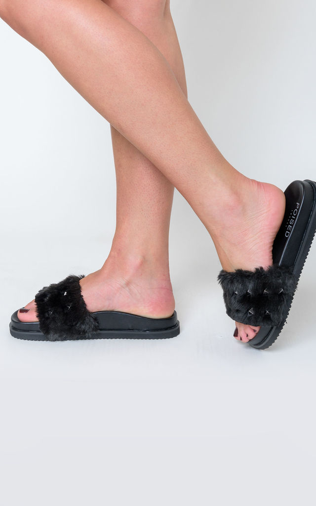 Keely Studded Detail Slider In Black Faux Fur by Poised London