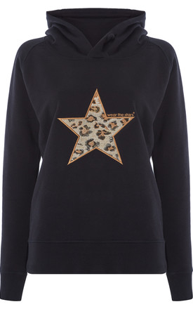Meet our Black Hoodie with Leopard embroidered star by Wear the Stars