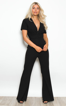 Anya Wrap Top Wide Leg Jumpsuit Black by Girl In Mind