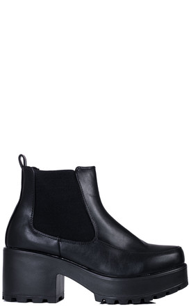 CERIUM Platform Block Heel Chelsea Ankle Boots - Black Leather Style by SpyLoveBuy