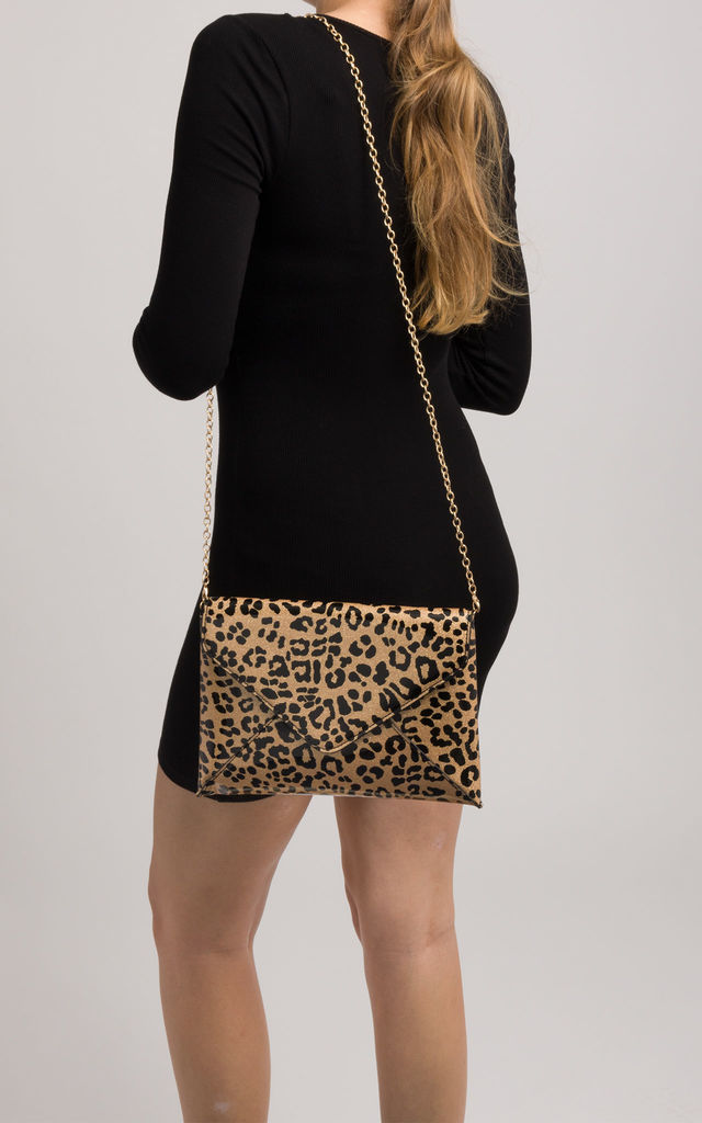 Penelope Golden Shiny Leopard Print Clutch Bag by KoKo Couture