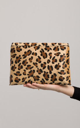 Ida Faux Leopard Pony Clutch Bag by KoKo Couture
