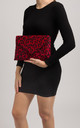 Ida Red Faux Leopard Pony Clutch Bag by KoKo Couture