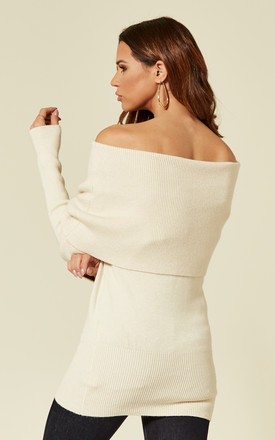 Off The Shoulder Jumper in Cream with Long Sleeves by Liquorish