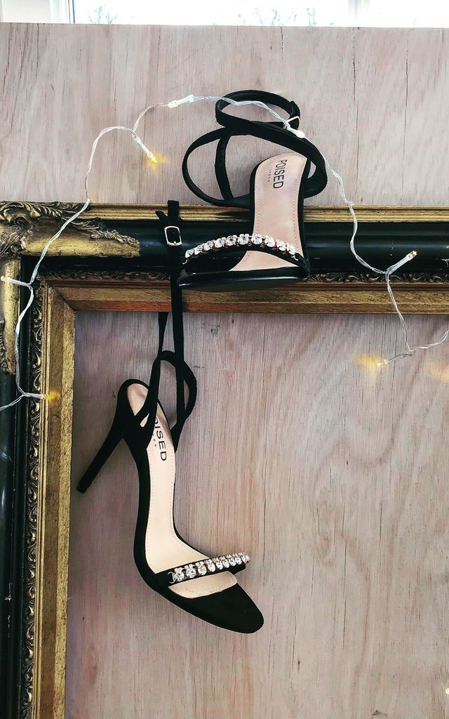 Lila Diamante Detail Strappy Stiletto Heels in Black Faux Suede by Poised London