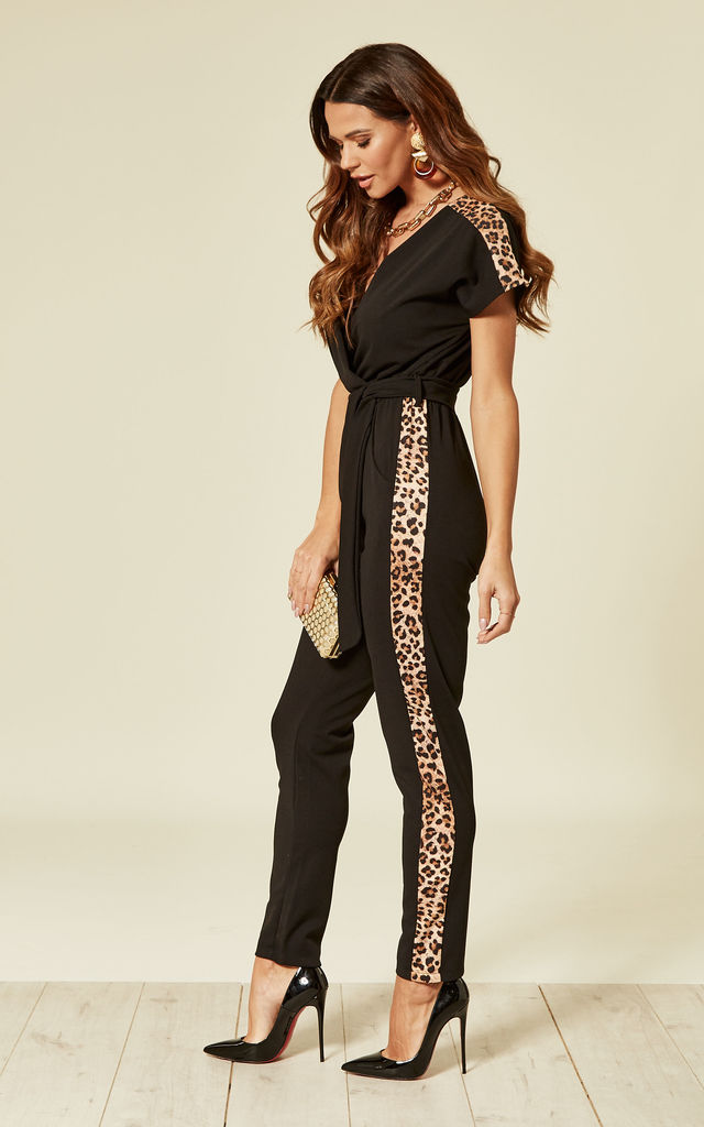 Savannah V Neck Black Jumpsuit with Leopard Stripe on Side by WalG