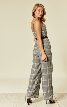 Checked Jumpsuit With Tie Waist Belt by UNIQUE21