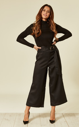 Black Flared Culotte With Tortoiseshell Buckle by UNIQUE21