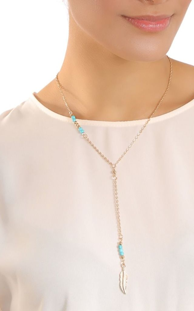 Gold Tone Leaf & Turquoise Drop Necklace by Emi Jewellery
