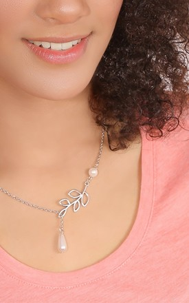 Silver Tone Leaf & Mother of Pearl Necklace by Emi Jewellery