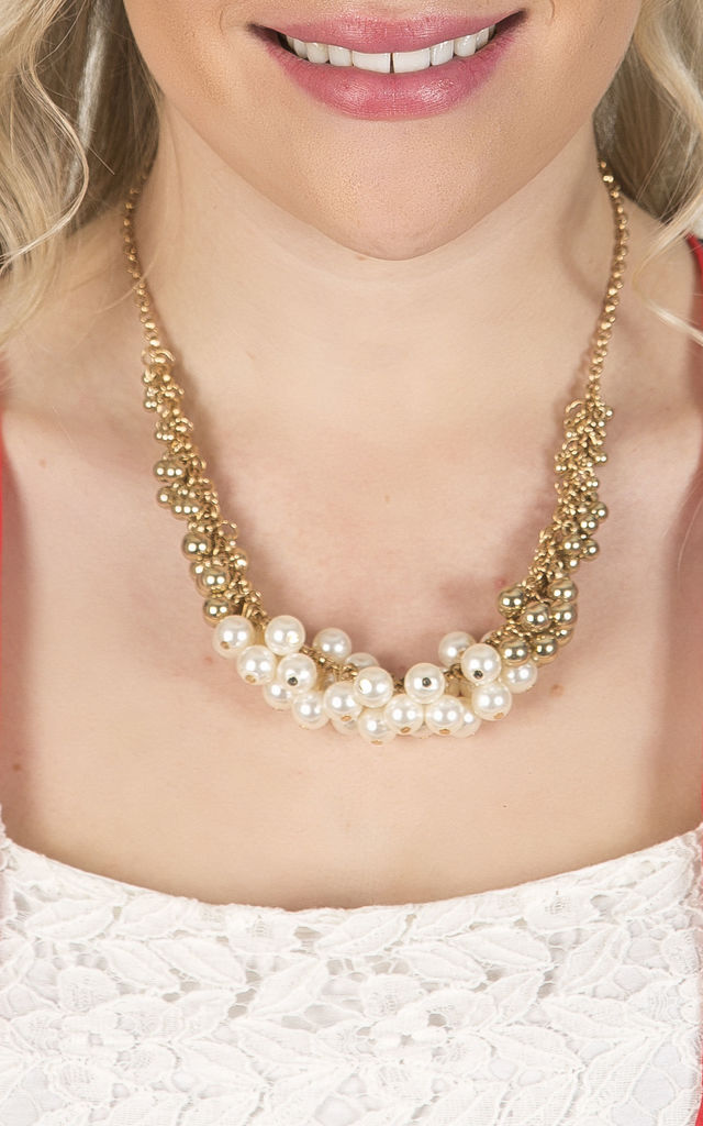 Cream Cluster Pearl Necklace by Emi Jewellery