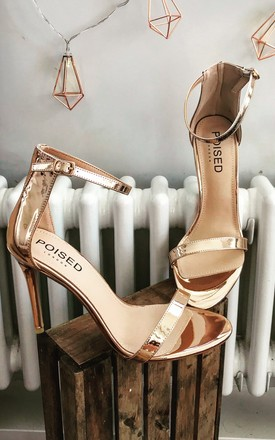 Abigail Two Strap Barely There Heels in Rose Gold Patent by Poised London