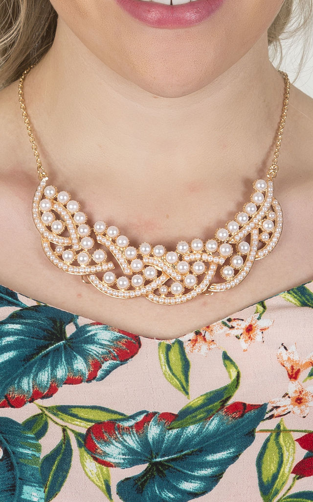 Rose Gold Mother of Pearl Statement Necklace by Emi Jewellery
