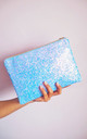 Glitter Clutch Bag in Shimmering Blue by Suki Sabur Designs