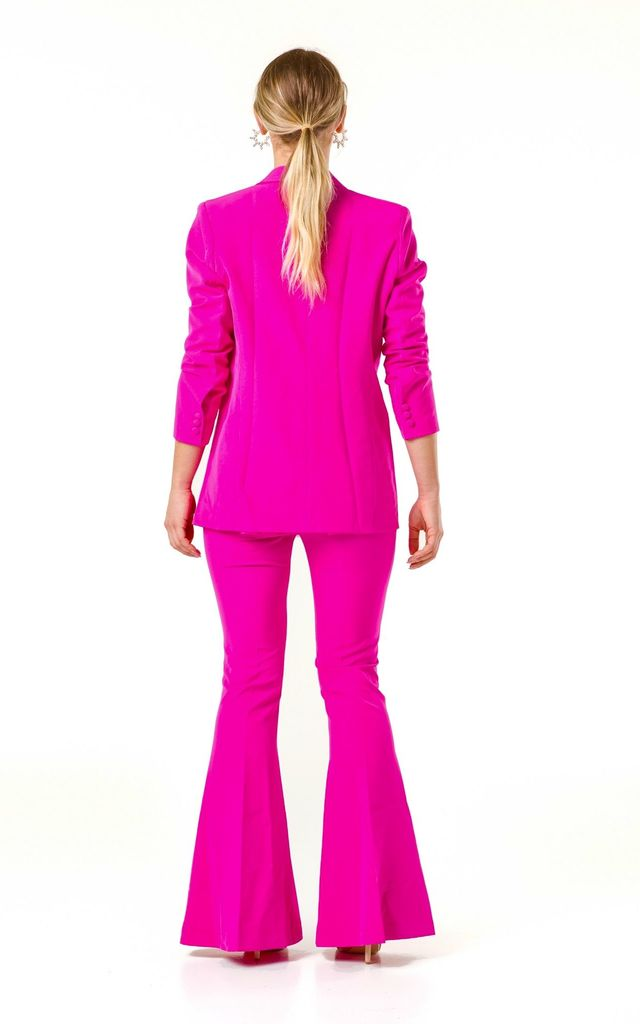 Double Breasted Long Sleeve Blazer and High Waist Flared Pants Suit by V Karla Onochie