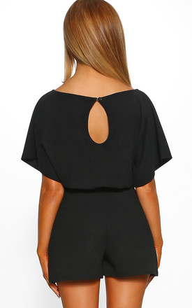 Over The Top Black Belted Playsuit by Pink Boutique