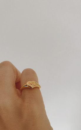 Gold Plated Engraved Heart Gold Pinky Ring by Gold Lunar