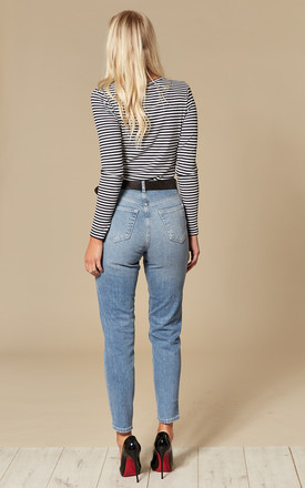 Light Blue High Waist Mom Ankle Jeans by Pieces