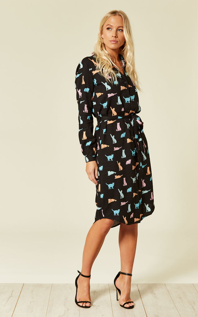 0dc4393ca3 Reva Purrfect Cats Black Long Sleeved Shirt Dress with Waist Tie by  SUGARHILL BRIGHTON