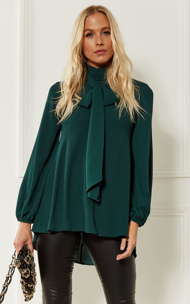 Forest Green Pussy Bow Blouse by John Zack