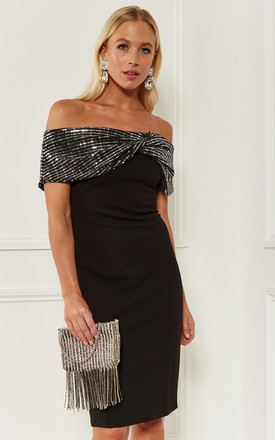 Black Sequin Contrast Dress by Bella and Blue