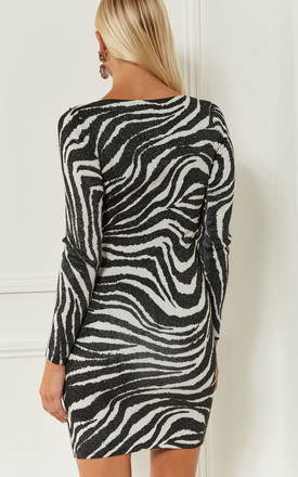Zebra Black and White Bodycon Dress by Bella and Blue