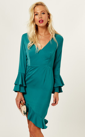 Frankie Teal Ruffle Sleeve Deep V Neck Dress by Phoenix & Feather Product photo