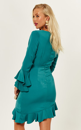 Frankie teal ruffle sleeve deep V neck dress by Phoenix & Feather