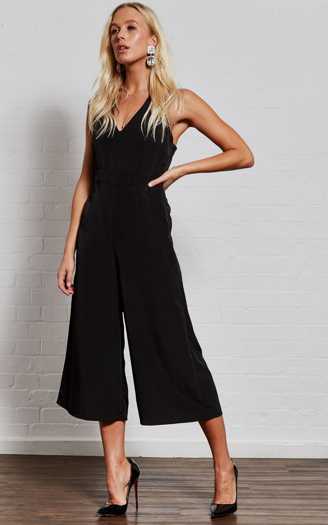Adriana Black twist back strap jumpsuit by India Gray