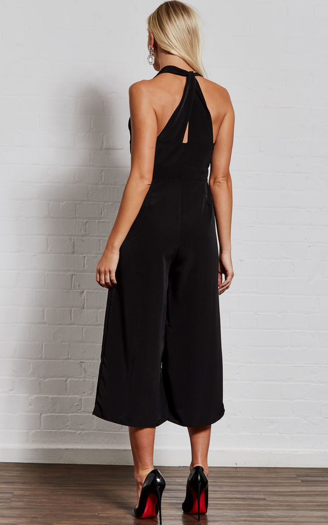 ae05d1d75ec6 Adriana Black twist back strap jumpsuit by India Gray